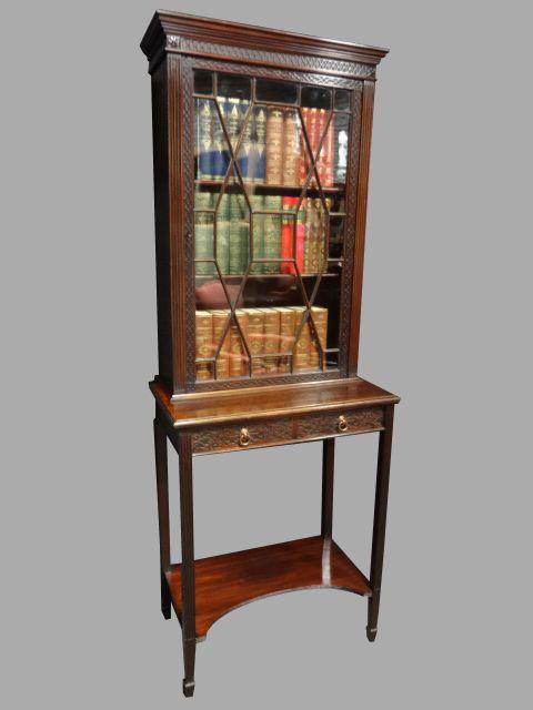 Antikes Englisches Mahagoni Chippendale Bücherregal ca. 1900