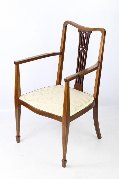 Edwardianischer Antiker Englischer Mahagoni Stuhl mit Armlehne ca. 1900