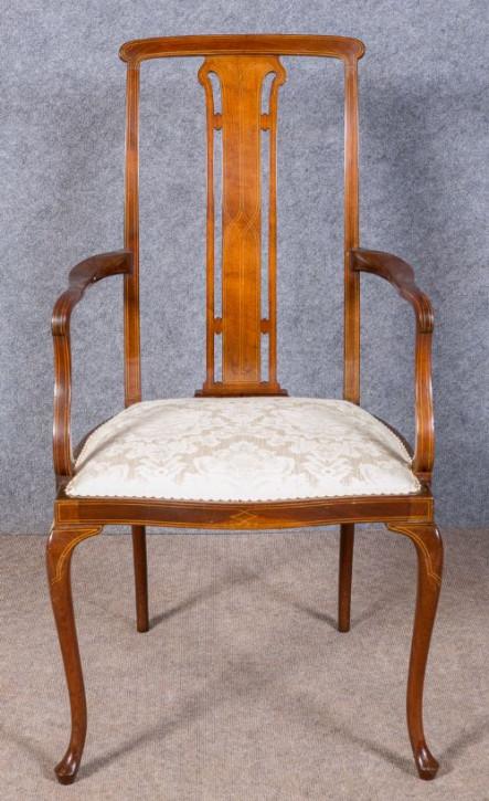 Edwardianischer Englischer Antiker Mahagoni Stuhl mit Armlehne ca. 1900