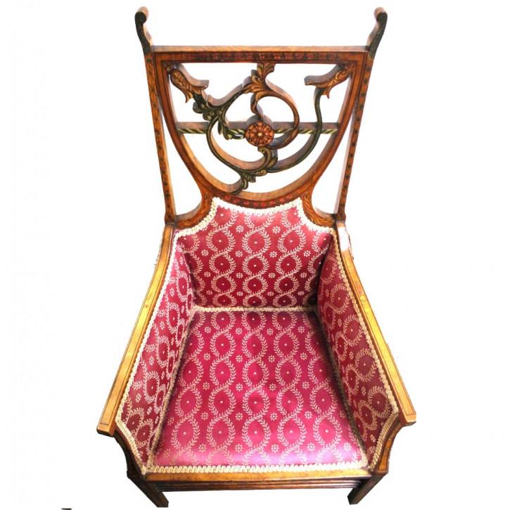 Edwardianischer Englischer Antiker Satinholz Stuhl ca. 1900
