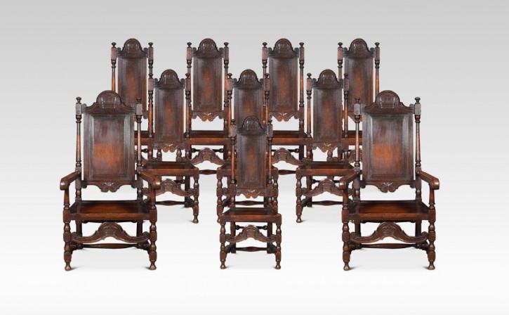 Antike englische Esszimmer Stühle Eiche ca 1880