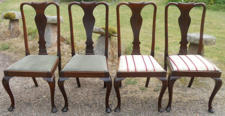 4 Antike Englische Mahagoni Esszimmerstühle im georgianischen Stil  ca. 1920
