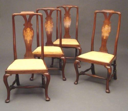 4 Georgianische Antike Englische Nussbaum Stühle ca. 1750
