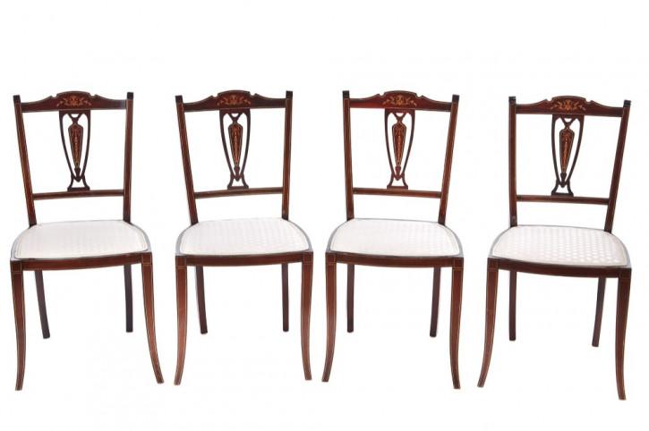 4 Antike Edwardianische Englische Mahagoni Esszimmerstühle ca. 1900
