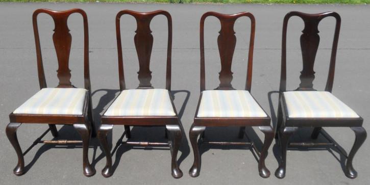 4 Antike Englische Mahagoni Esszimmerstühle ca. 1920