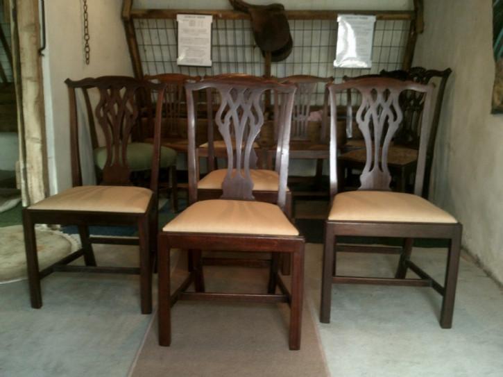 4 Georgianische Antike Englische Mahagoni Esszimmerstühle ca. 1750