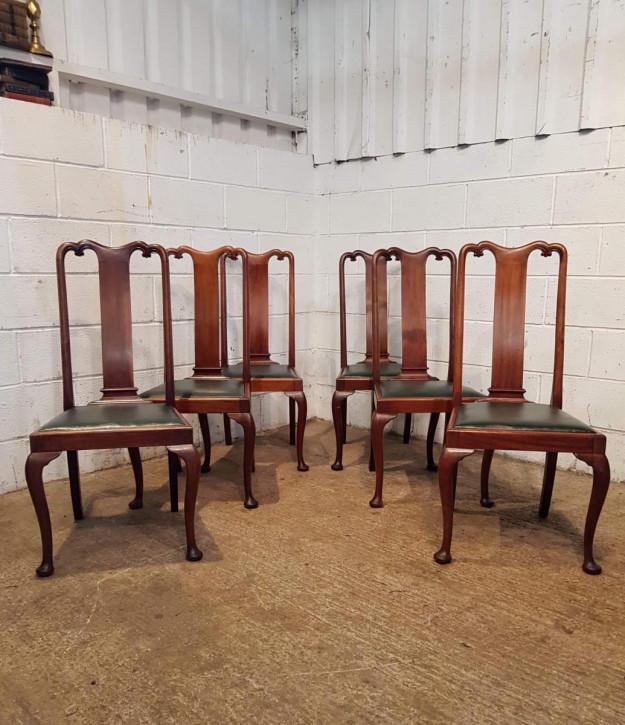 6 Edwardianische Antike Englische Mahagoni Stühle im Queen Anne Stil ca. 1900