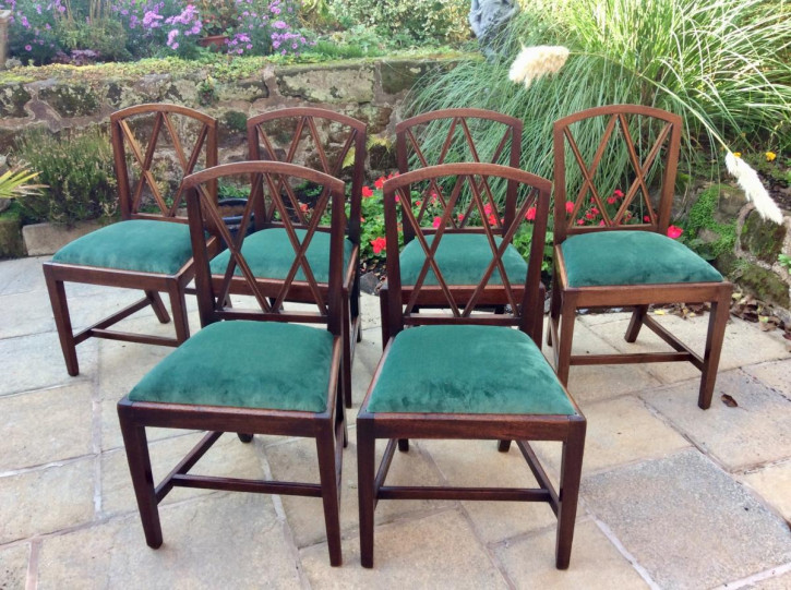6 Georigianische Antike Englische Mahagoni Stühle ca. 1800