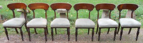 6 Viktorianische Antike Englische Mahagoni Esszimmerstühle ca. 1850