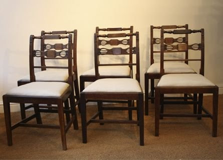 6 Antike Englische Mahagoni Stühle ca. 1800