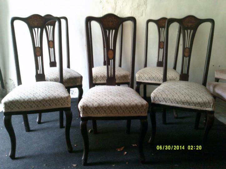 Antike Englische Mahagoni Esszimmerstühle im Queen Anne Stil ca. 1910