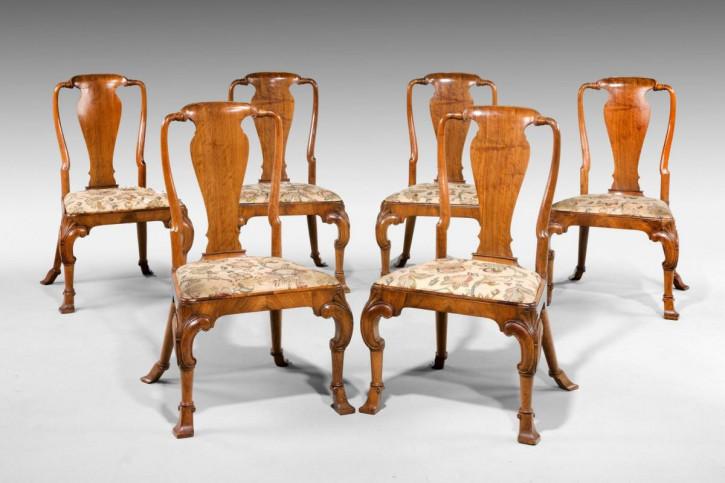 6 Englische Antike Teakholz Stühle im Queen Anne Stil ca. 1900