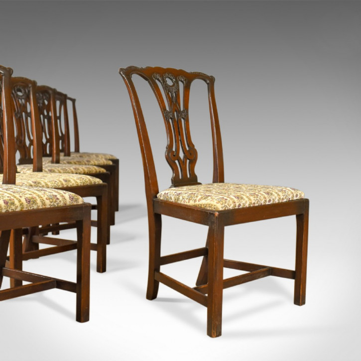 6 Viktorianische Antike Englische Stühle im Chippendale Stil ca. 1900