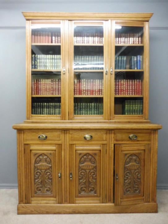 Edwardianisches Englisches Antikes Eichen Bücherregal ca. 1910