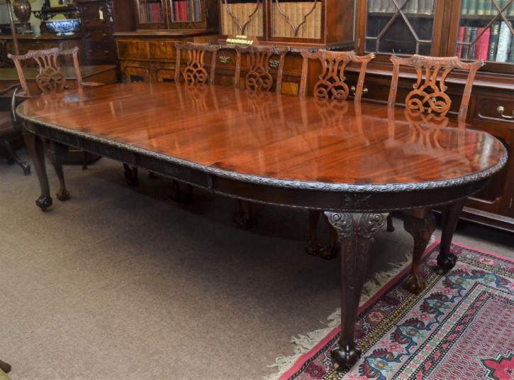 Chippendale Stil antiker Esstisch Mahagoni englisch erweiterbar ca 1920