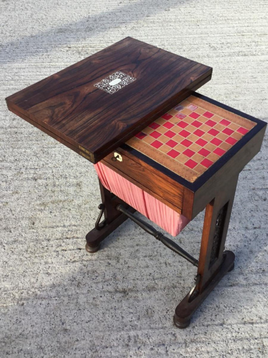 Antiker viktorianischer Palisander Spieltisch englisch ca 1850