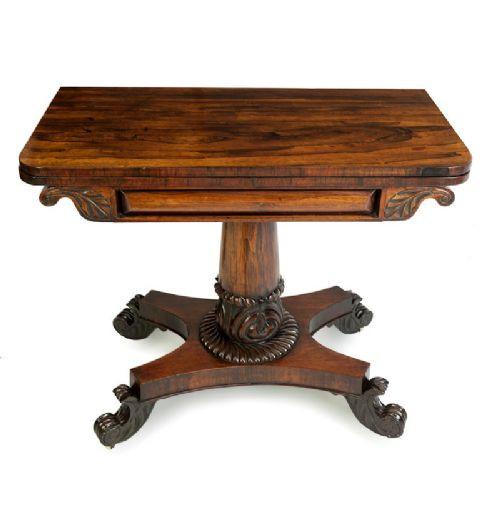 Original antiker William IV Palisander Spieltisch englisch ca 1835