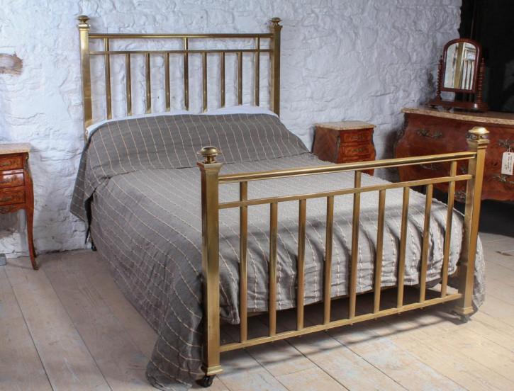 Edwardianisches Antikes Englisches Messing Doppelbett ca. 1900