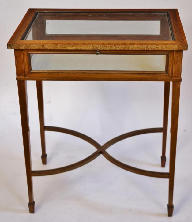 Edwardianischer antiker Mahagoni Beistelltisch Glas Vitrine ca 1890