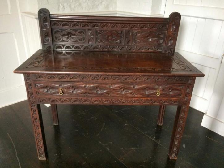 Viktorianischer Antiker Englischer Eichen Tisch ca. 1860