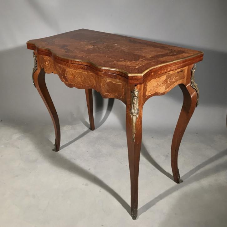 Französischer Beistelltisch Satinholz Spieltisch Nussbaum antik ca 1900