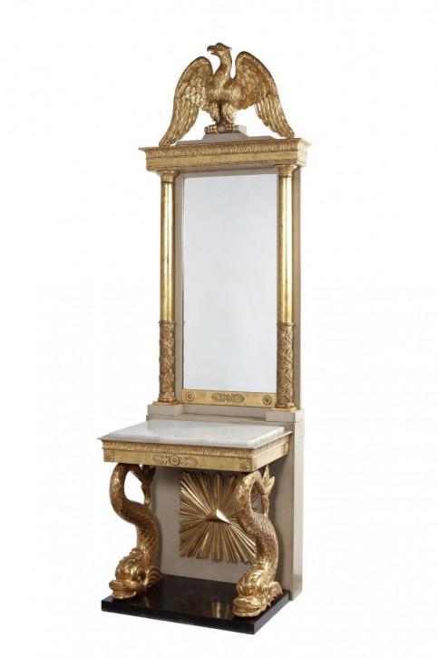 Schwedischer Antiker bemalter vergoldeter Tisch mit Spiegel ca. 19. JH.