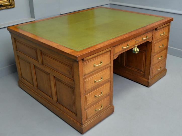Edwardianischer Antiker Eichen Partner Schreibtisch ca. 1910