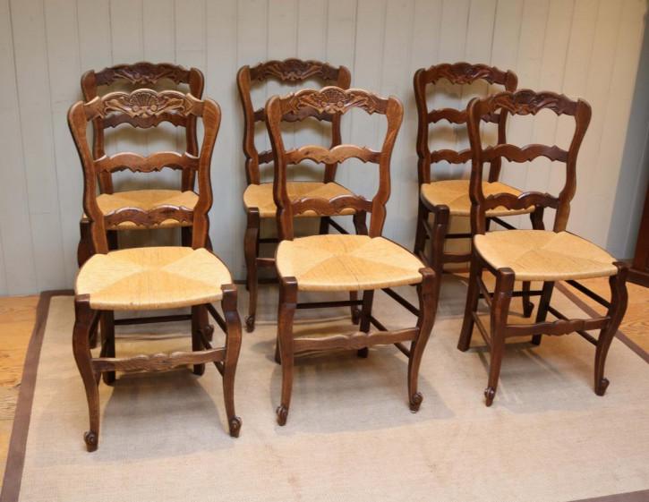 6 Französische Antike Eichen Esszimmerstühle ca. 1910