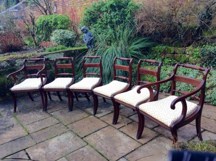 6 Regency Antike Englische Mahagoni Esszimmerstühle ca. 1810