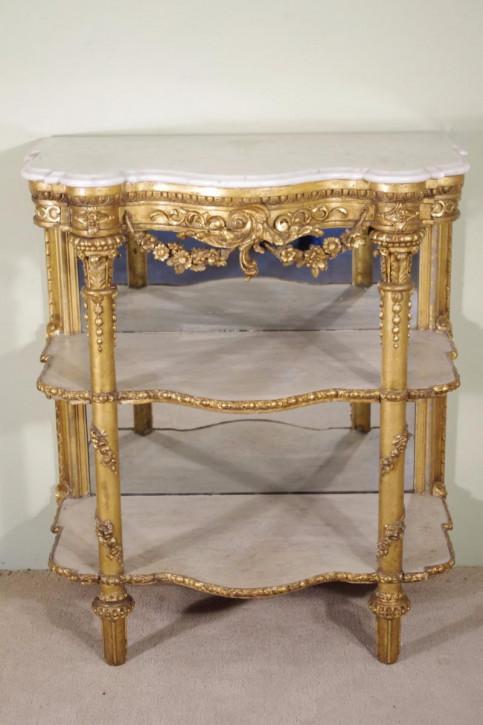 Antiker Beistelltisch Konsolentisch vergoldet Marmor englisch ca 1870