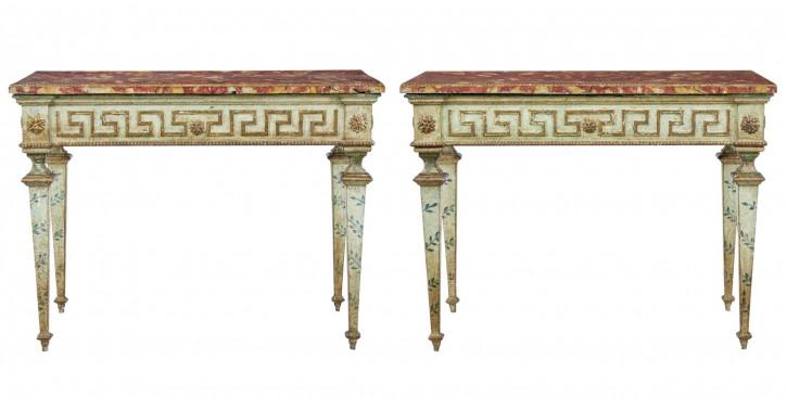 Antike original italienische Konsolentische Massivholz Beistelltische ca 1880