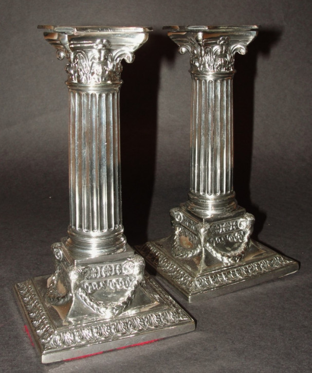 Viktorianische versilberte Kerzenhalter original antik ca 1880