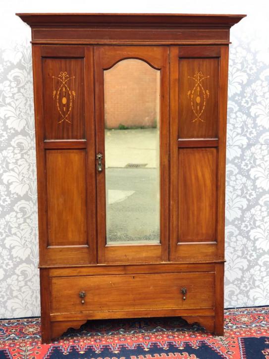 Viktorianischer Massivholz Kleiderschrank antik englisch ca 1850