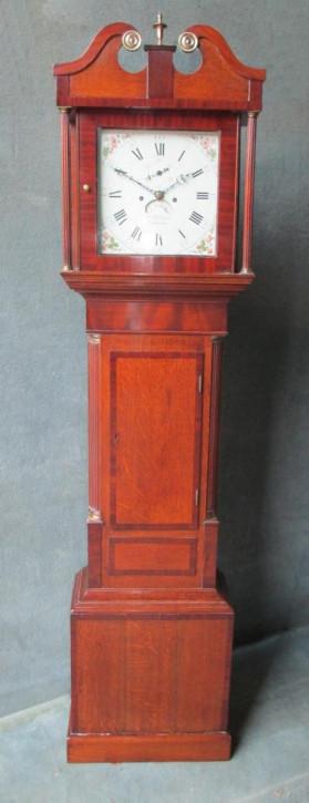 Englische Eichen Mahagoni Standuhr antik ca. 1800