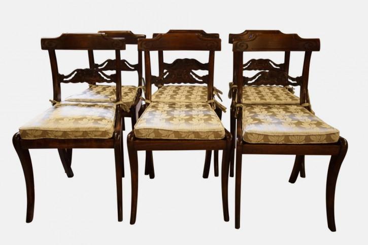 6 William IV. Antike Englische Buchen Esszimmerstühle ca. 1830