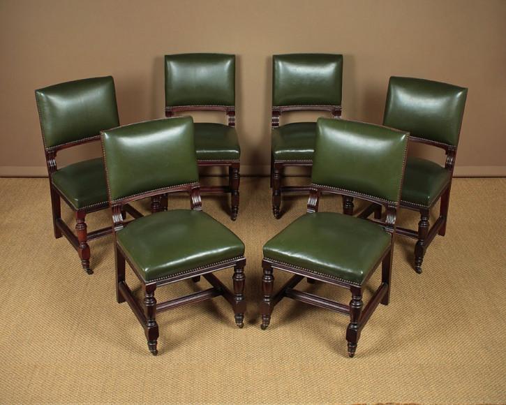 6 Antike Englische Nussbaum Leder Esszimmerstühle ca. 1890