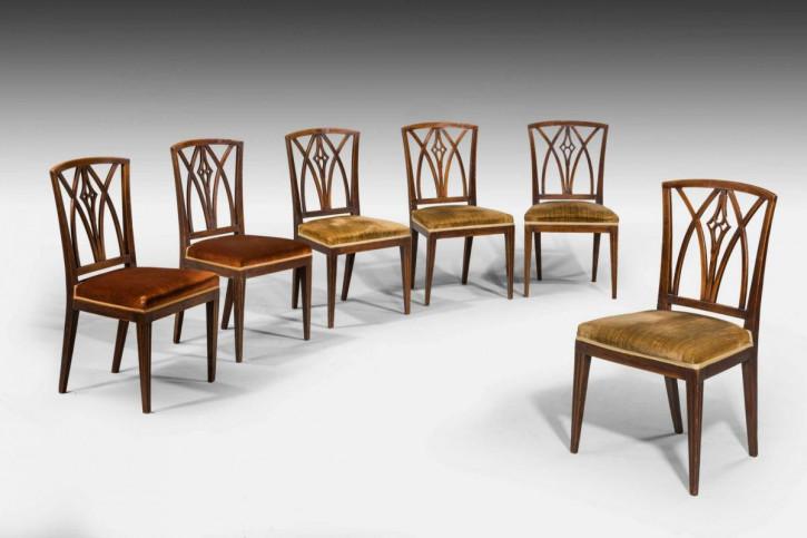 6 Antike Englische Ulmen Esszimmer Stühle ca. 1800