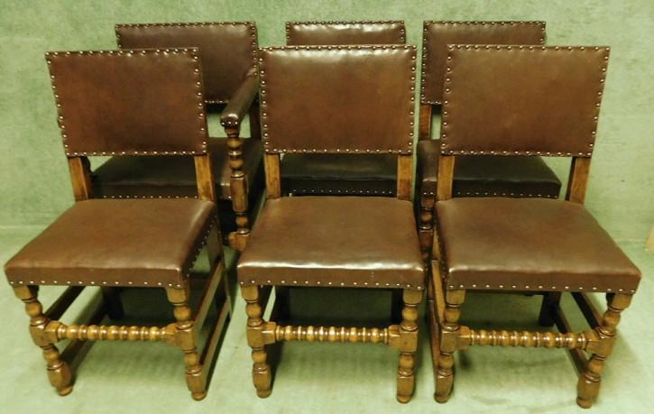 6 Antike Englische Eichen Leder Stühle im Cromwellian Stil ca. 1920