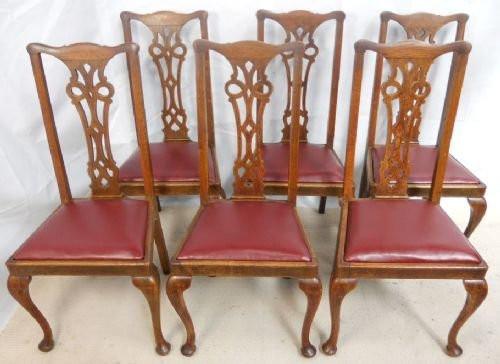 6 Englische Antike Eichen Esszimmerstühle im Queen Anne Stil ca. 1900