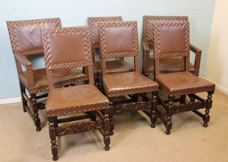 6 Antike Englischer Eichen Leder Esszimmerstühle ca. 1910