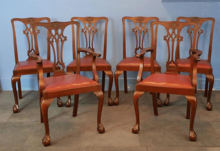 6 Edwardianische Antike Englische Mahagoni Esszimmerstühle ca. 1900