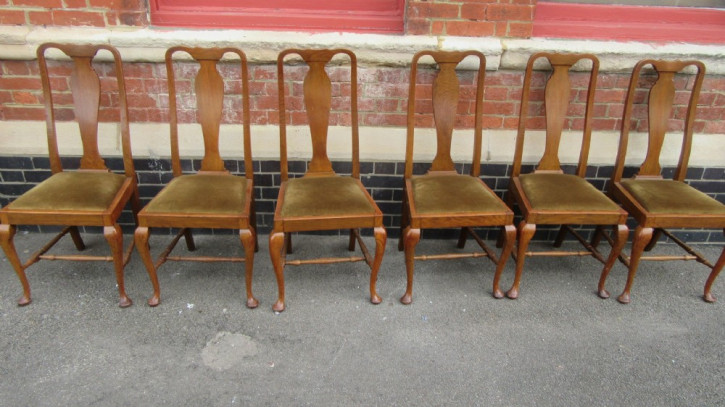 6 Antike Englische Eichen Esszimmerstühle im Queen Anne Stil ca. 1920