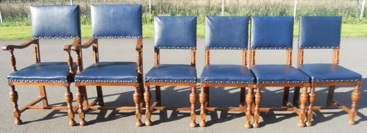 6 Antike Englische Eichen Leder Esszimmer Stühle ca. 1920