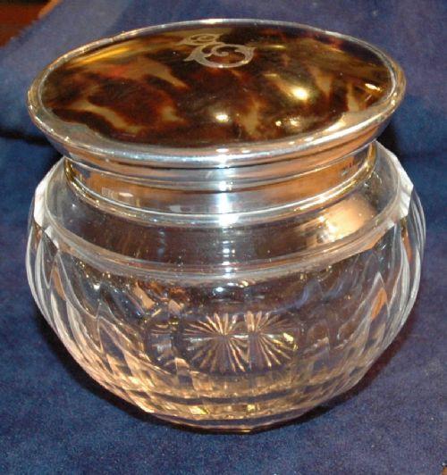 Antike britische Silber Puderdose Schildpatt ca 1927
