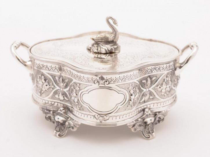 Viktorianische englische Silber Butterdose antik ca 1890