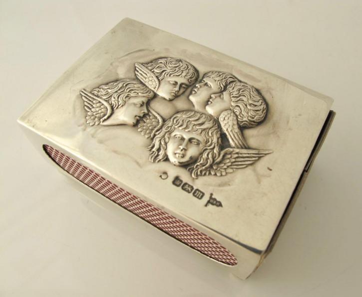 Antike Streichhölzer Hülle Silber Streichholzbox englisch 1904