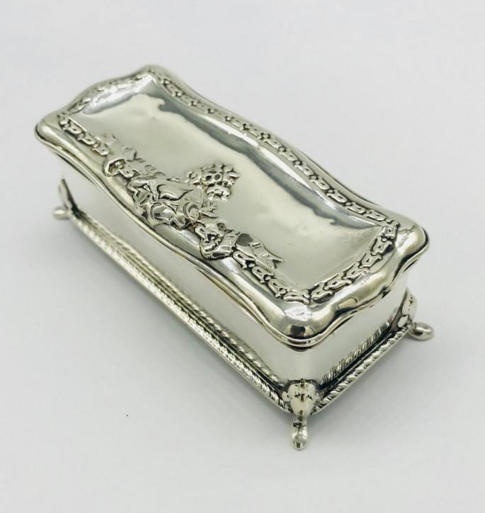 Edwardianische antike Silber Schmuckdose Echtsilber Schmuckschatulle 1905