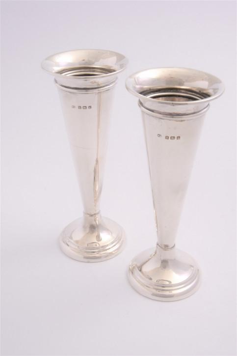 Edwardianische antike Silber Vasen Echtsilber 1906