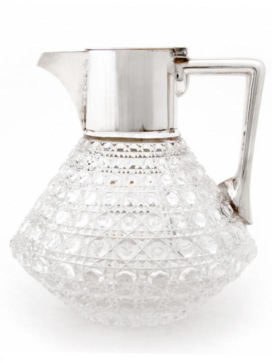 Viktorianischer Englischer Antiker silberner Glaskrug ca. 1890