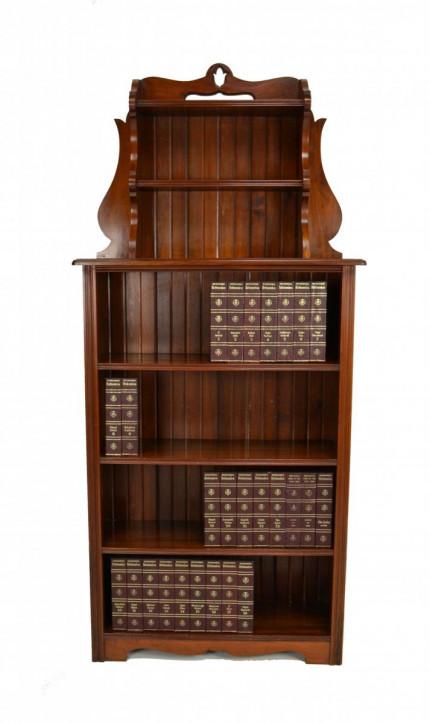 Jugenstil Antikes Viktorianisches Nussbaum Bücherregal englisch ca. 1890